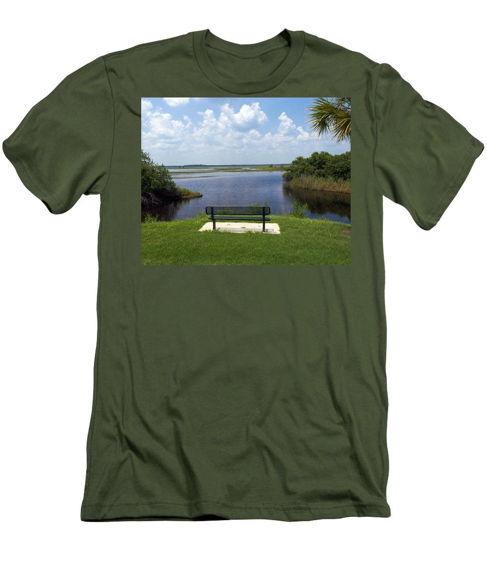 St; Saint; John; Johns; River; Creek; Stream; Water; Waterway; Clouds; Reflections; Look; Over; Over Men's T-Shirt (Athletic Fit) featuring the photograph St Johns River In Florida by Allan Hughes