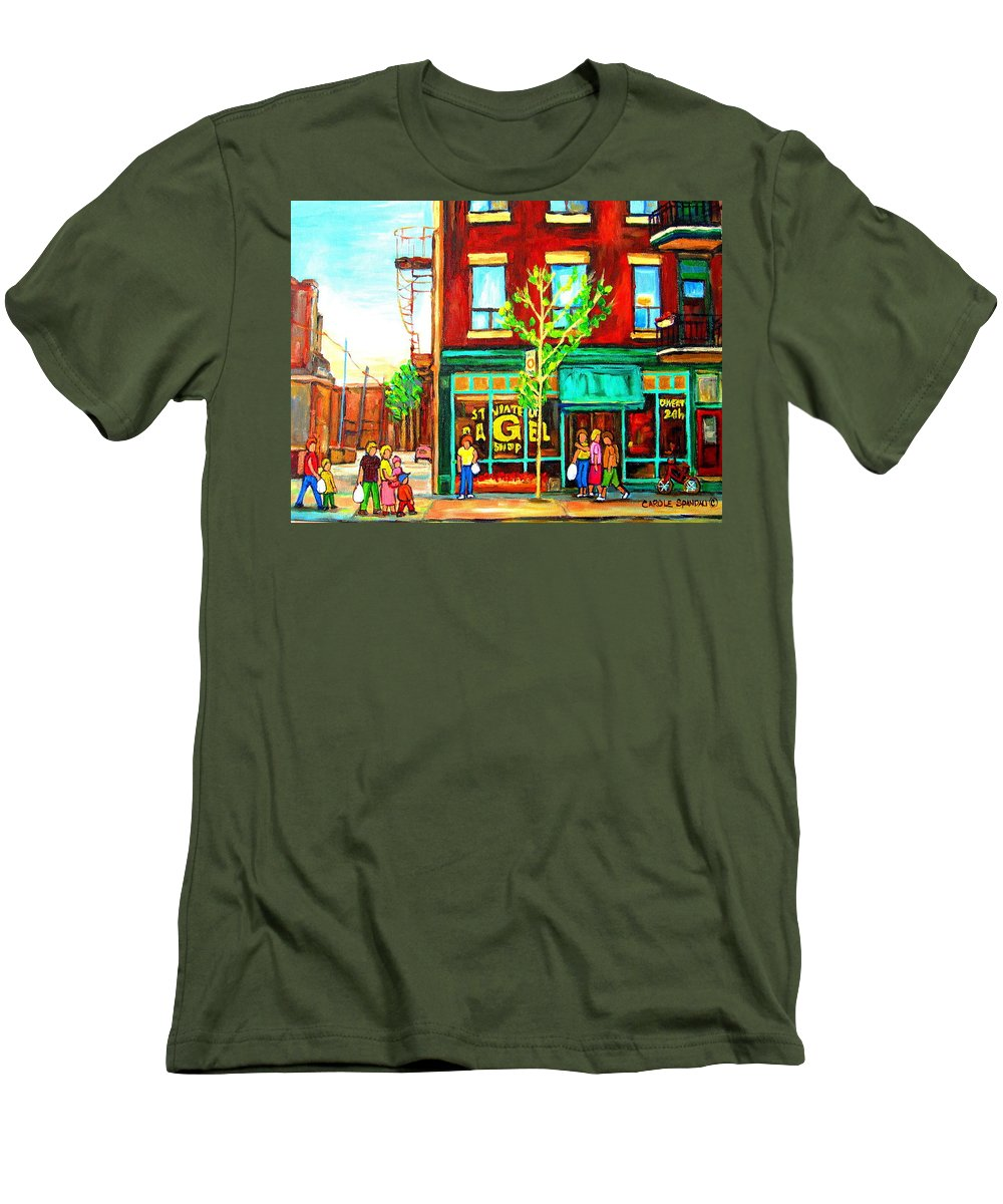 Cityscapes Men's T-Shirt (Athletic Fit) featuring the painting St. Viateur Bagel With Shoppers by Carole Spandau