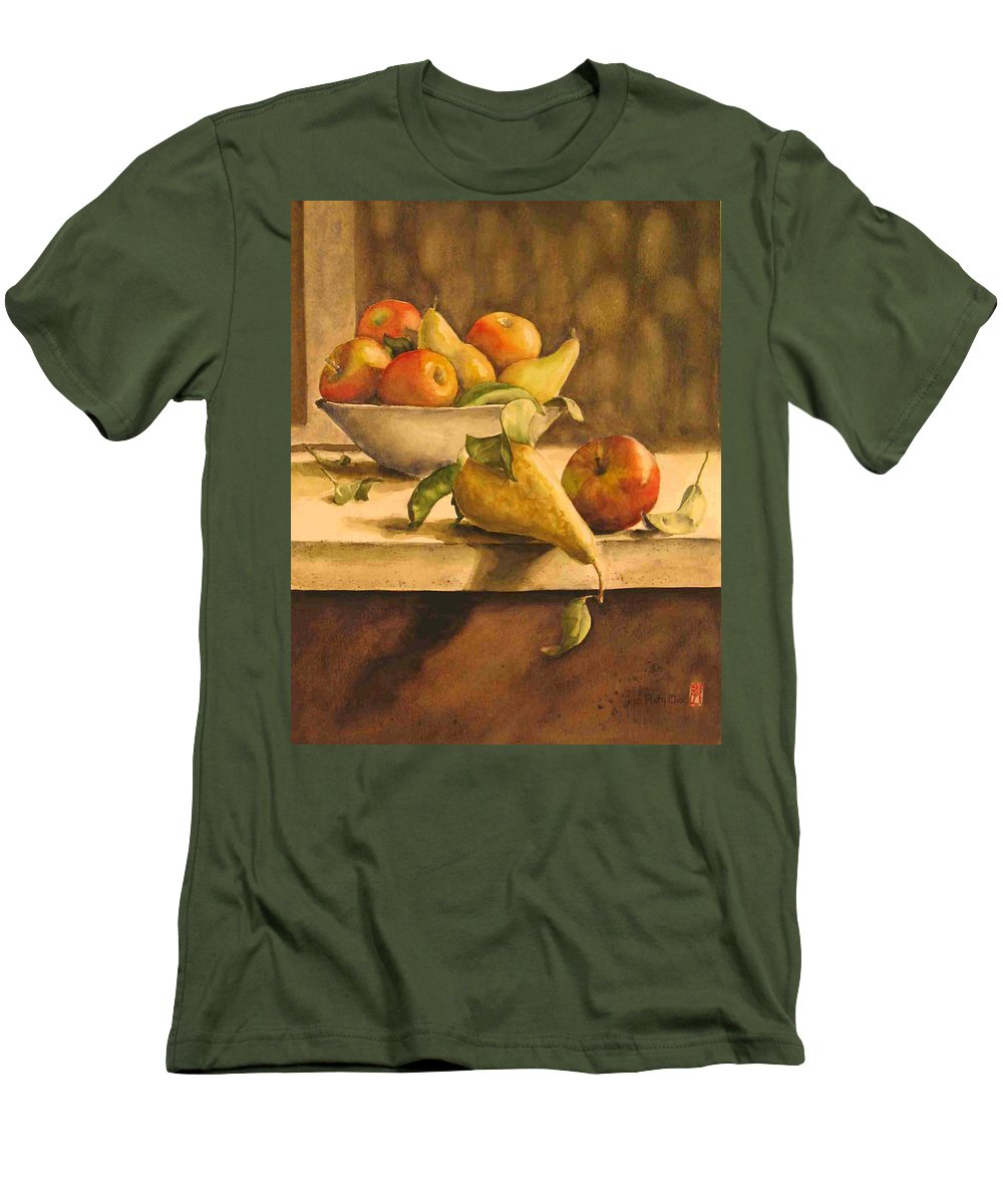 Still-life Men's T-Shirt (Athletic Fit) featuring the painting Still-life With Apples And Pears by Piety Choi