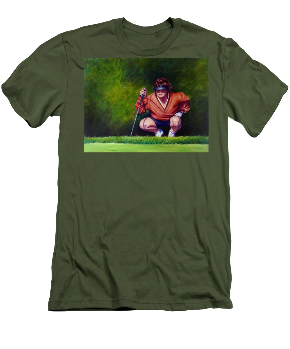 Golfer Men's T-Shirt (Athletic Fit) featuring the painting Straightshot by Shannon Grissom