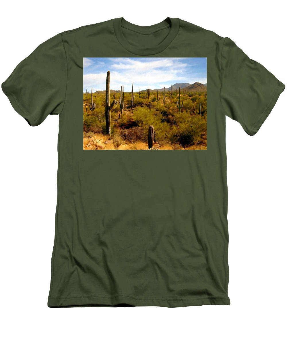 Suguaro Cactus Men's T-Shirt (Athletic Fit) featuring the photograph Suguro National Park by Kurt Van Wagner