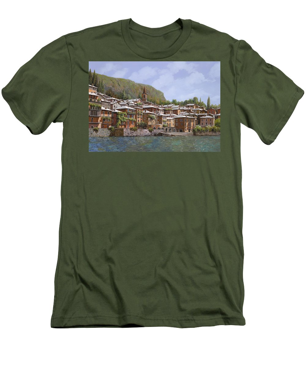 Lake Como Men's T-Shirt (Athletic Fit) featuring the painting Sul Lago Di Como by Guido Borelli