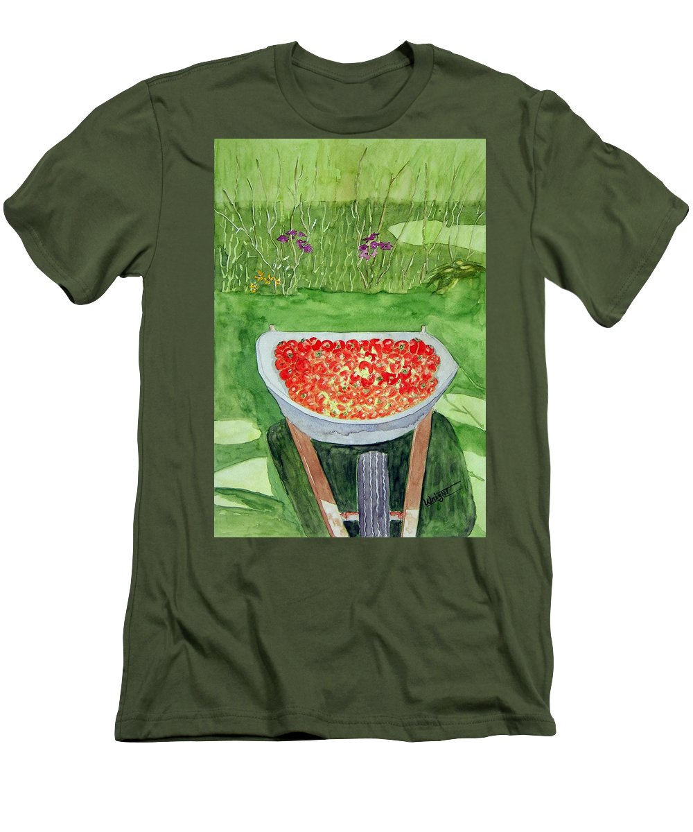 Rural Paintings Men's T-Shirt (Athletic Fit) featuring the painting Summer Bounty by Larry Wright