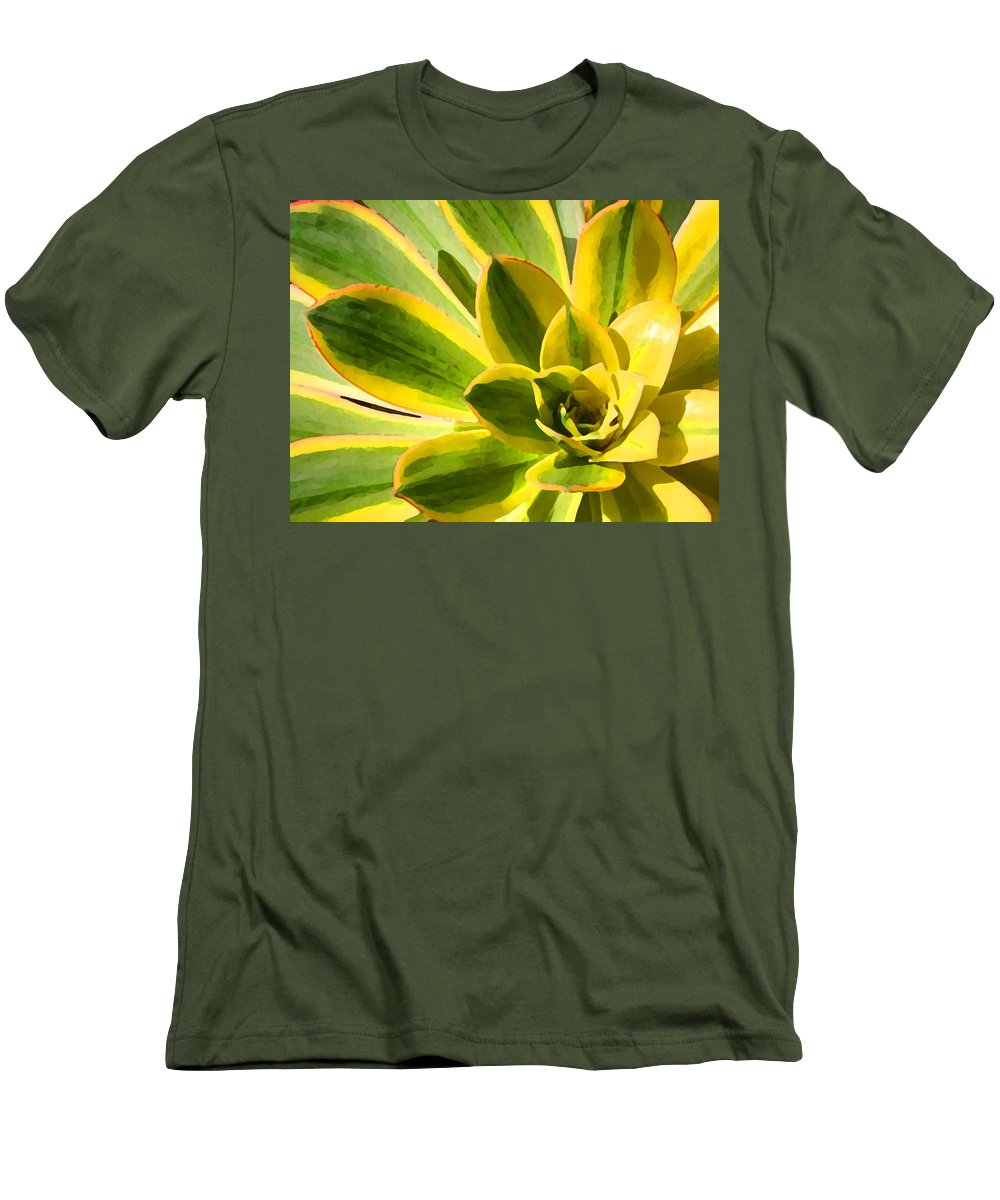 Landscape Men's T-Shirt (Athletic Fit) featuring the photograph Sunburst Succulent Close-up 2 by Amy Vangsgard
