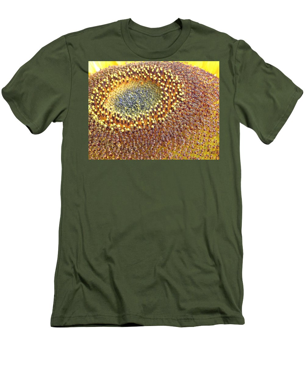 Sunflower Men's T-Shirt (Athletic Fit) featuring the photograph Sunflower Heart by Line Gagne