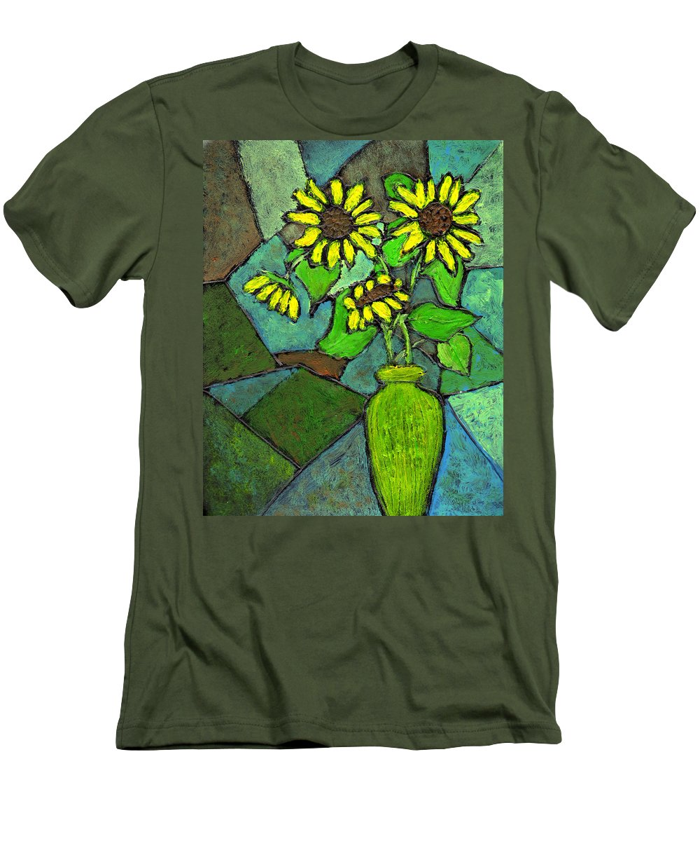 Sunflowers Men's T-Shirt (Athletic Fit) featuring the painting Sunflowers In Vase Green by Wayne Potrafka