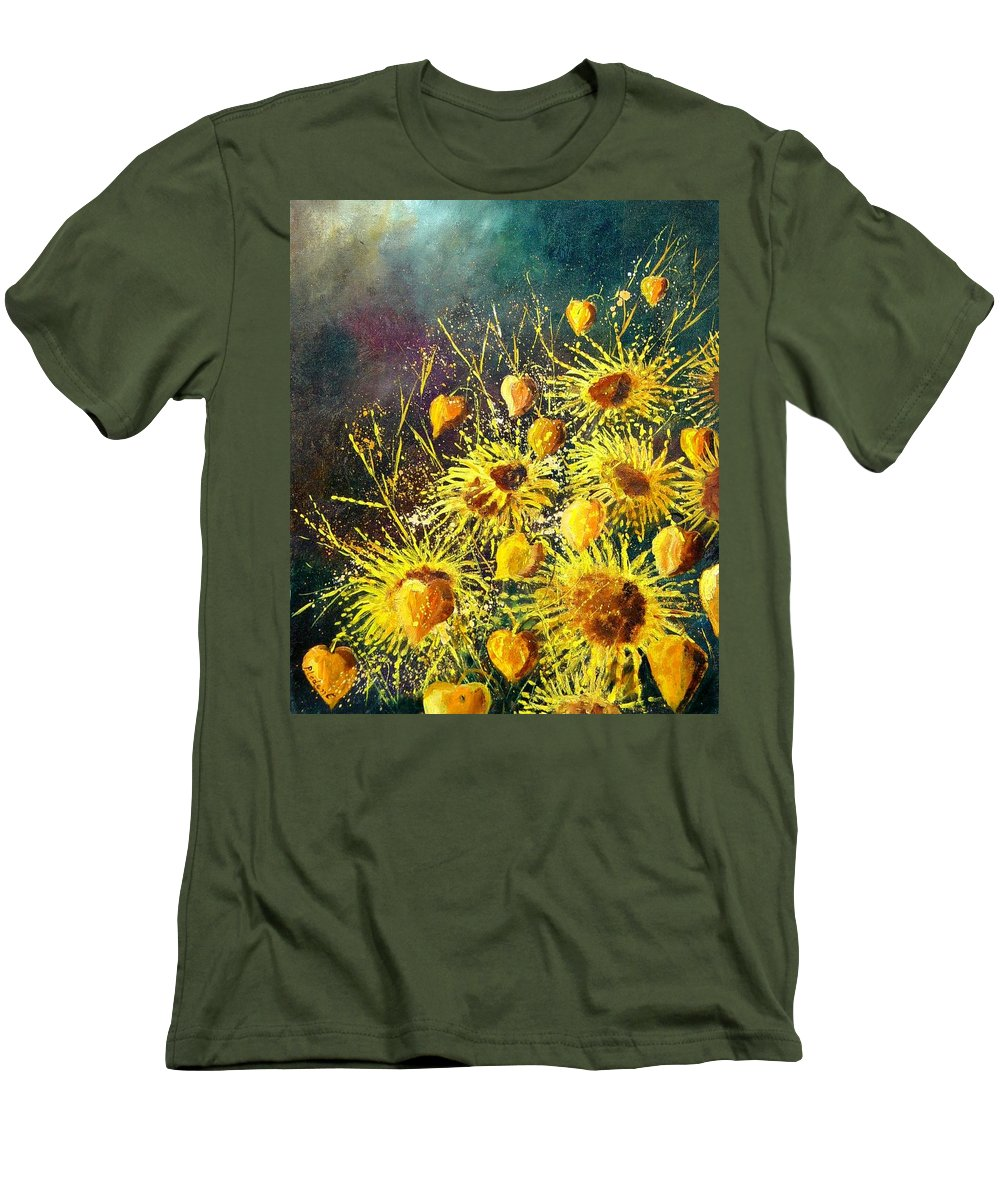 Flowers Men's T-Shirt (Athletic Fit) featuring the painting Sunflowers by Pol Ledent