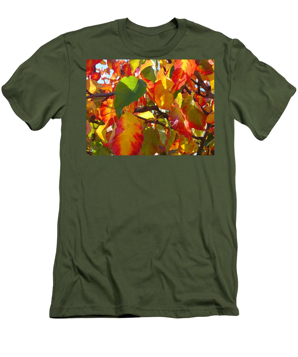 Fall Leaves Men's T-Shirt (Athletic Fit) featuring the photograph Sunlit Fall Leaves by Amy Vangsgard