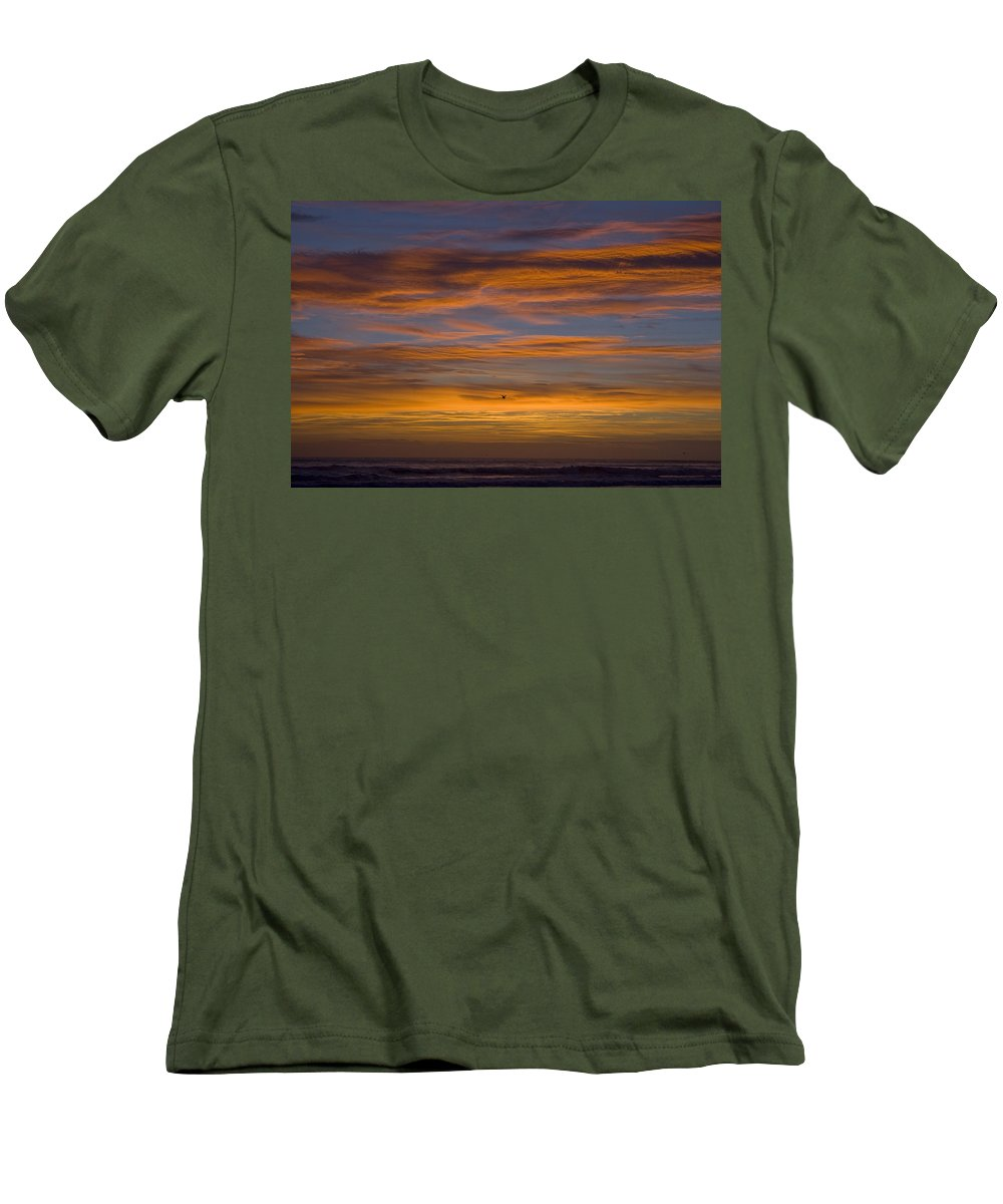 Sun Sunrise Cloud Clouds Morning Early Bright Orange Bird Flight Fly Flying Blue Ocean Water Waves Men's T-Shirt (Athletic Fit) featuring the photograph Sunrise by Andrei Shliakhau