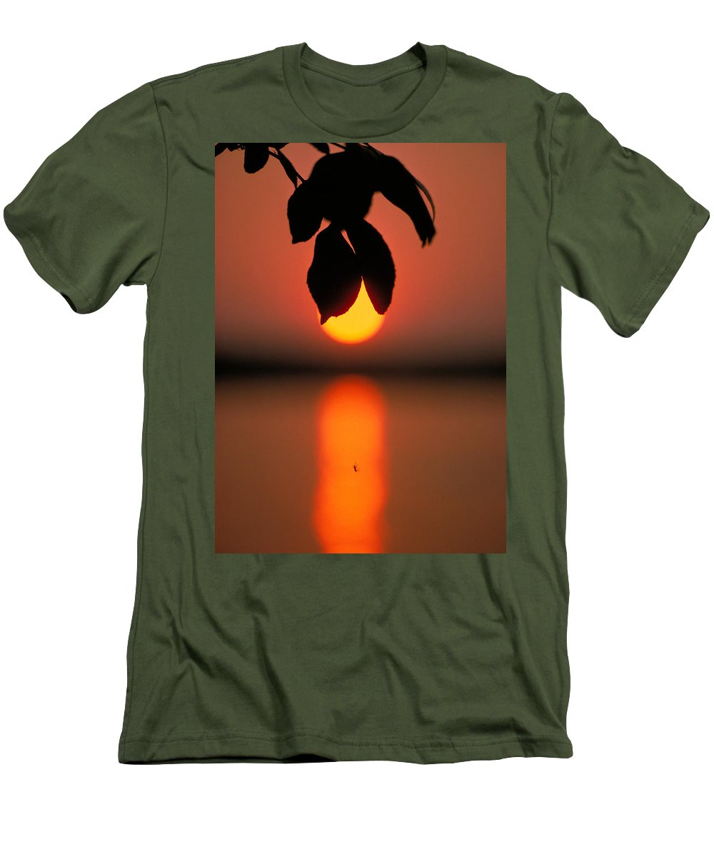 Sunset Men's T-Shirt (Athletic Fit) featuring the photograph Sunset And Spider by Thomas Firak