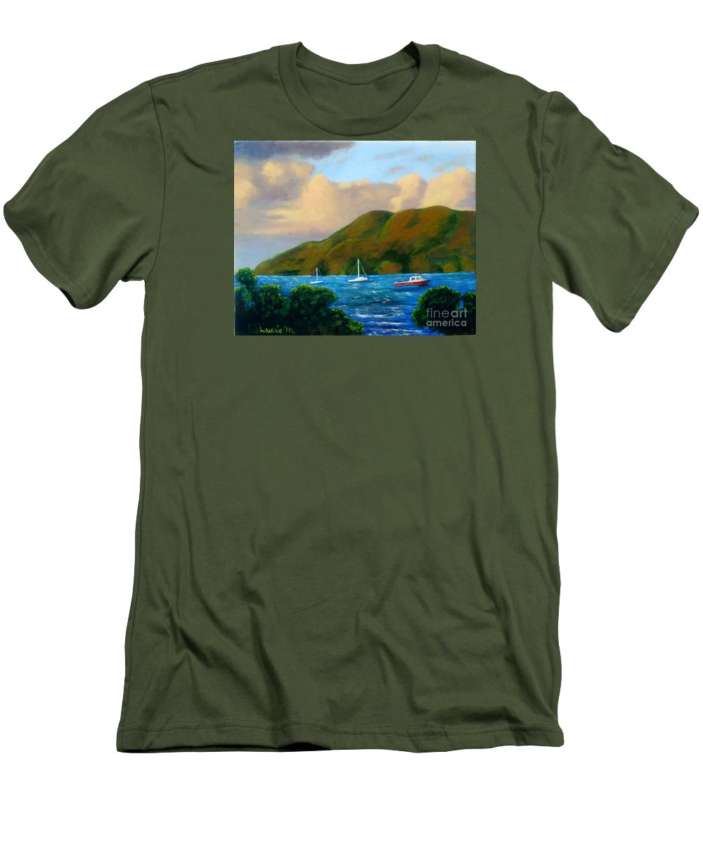 Sunset Men's T-Shirt (Athletic Fit) featuring the painting Sunset On Cruz Bay by Laurie Morgan