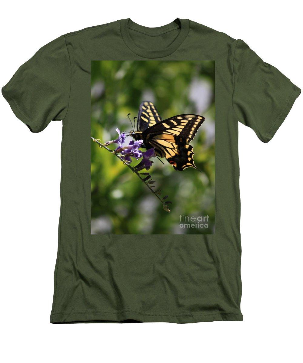 Swallowtail Butterfly Men's T-Shirt (Athletic Fit) featuring the photograph Swallowtail Butterfly 1 by Carol Groenen