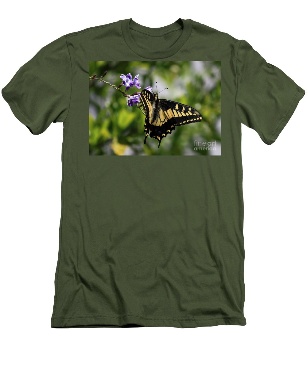 Swallowtail Butterfly Men's T-Shirt (Athletic Fit) featuring the photograph Swallowtail Butterfly 2 by Carol Groenen