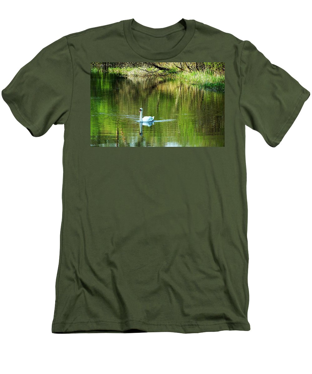 Irish Men's T-Shirt (Athletic Fit) featuring the photograph Swan On The Cong River Cong Ireland by Teresa Mucha
