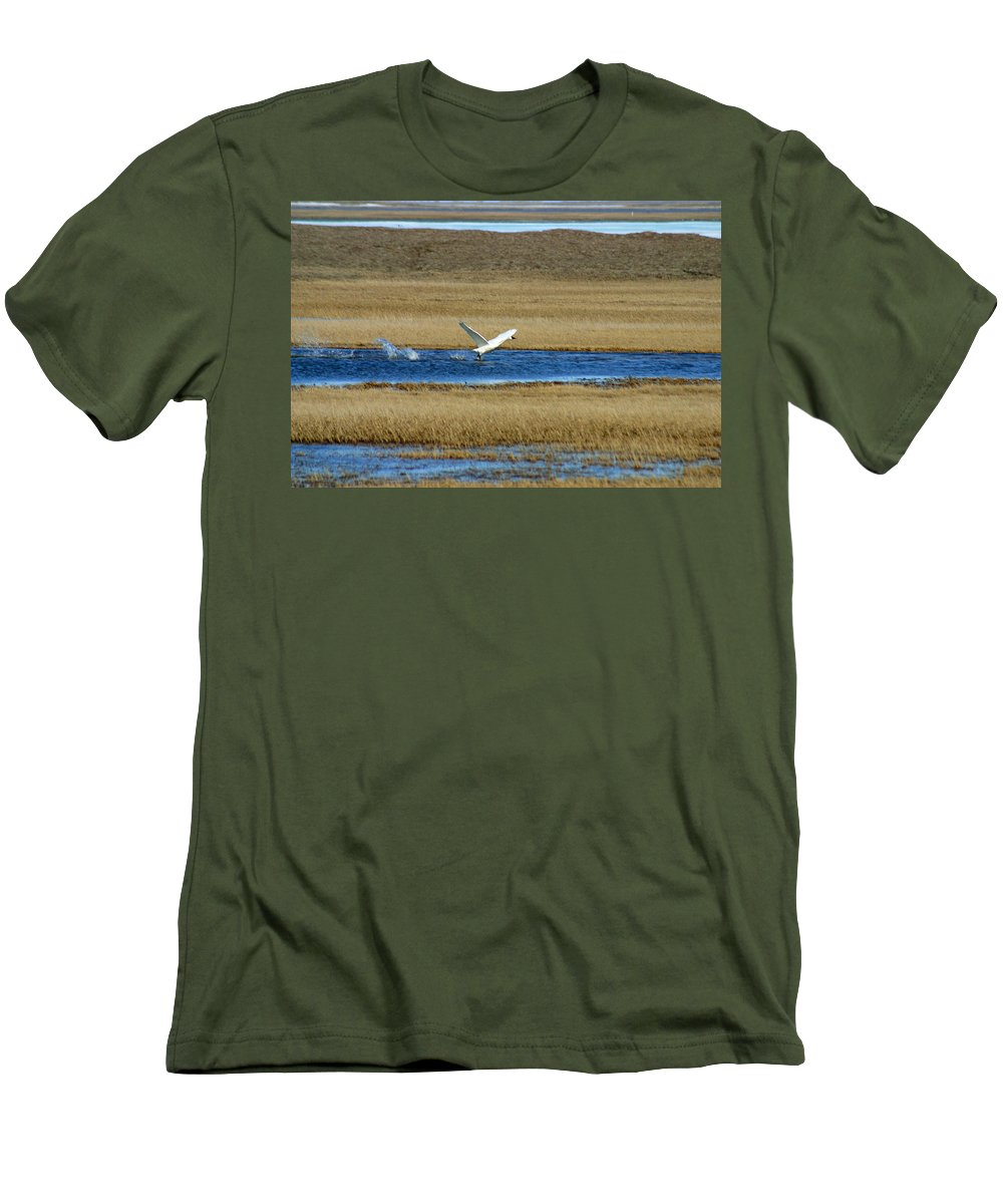 Swan Men's T-Shirt (Athletic Fit) featuring the photograph Take Off by Anthony Jones