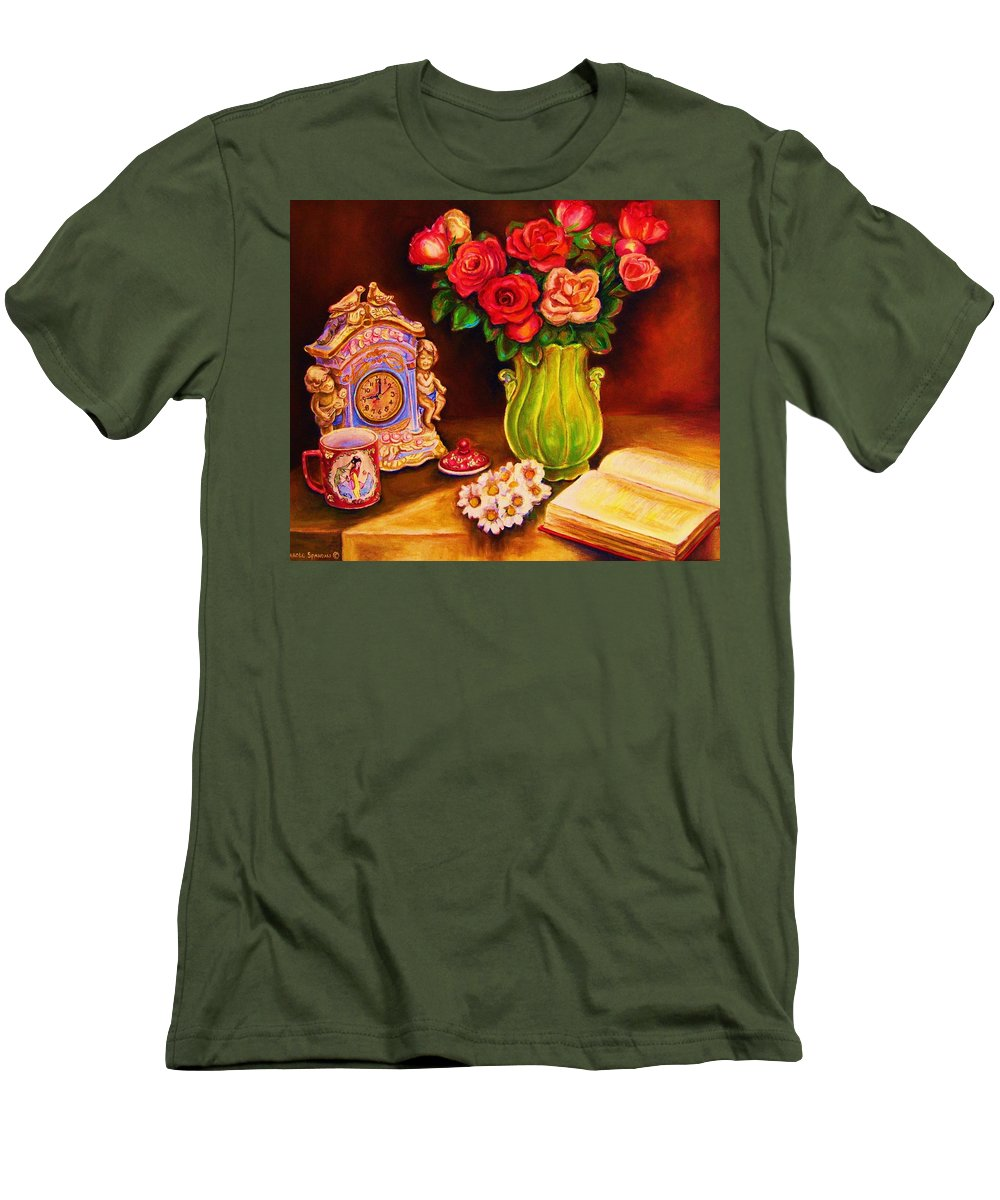Impressionism Men's T-Shirt (Athletic Fit) featuring the painting Teacup And Roses by Carole Spandau