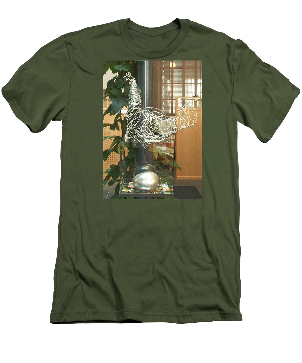 Men's T-Shirt (Athletic Fit) featuring the sculpture Techno Hen by Jarle Rosseland