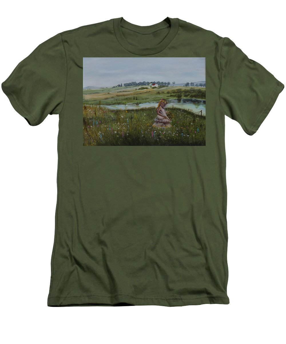 Impression Men's T-Shirt (Athletic Fit) featuring the painting Tender Blossom - Lmj by Ruth Kamenev