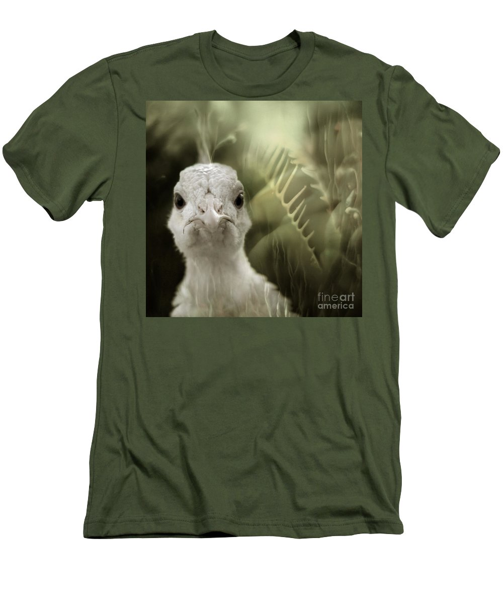 Peacock Men's T-Shirt (Athletic Fit) featuring the photograph Th White Peacock by Angel Ciesniarska