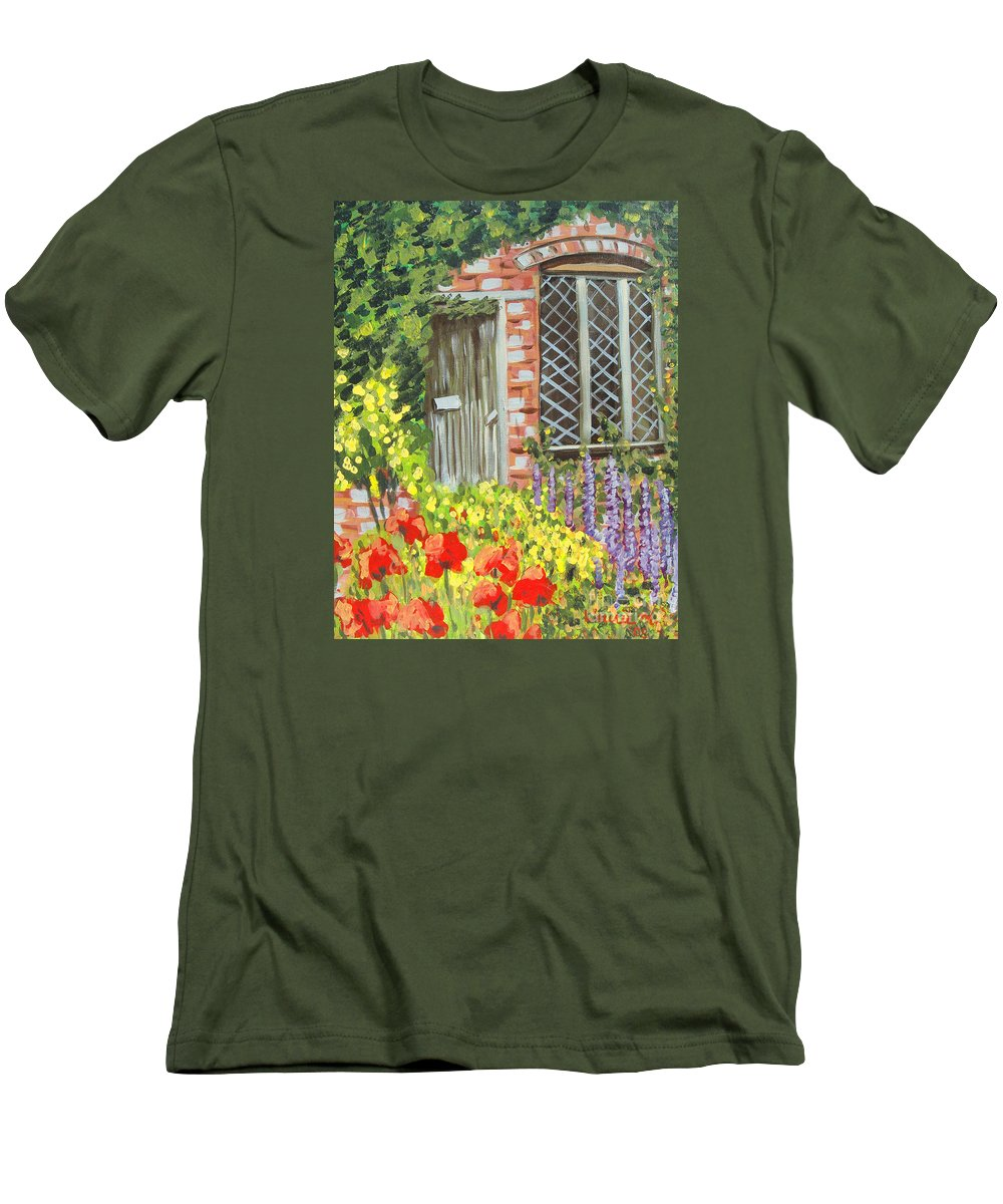 Windows Men's T-Shirt (Athletic Fit) featuring the painting The Artist's Cottage by Laurie Morgan