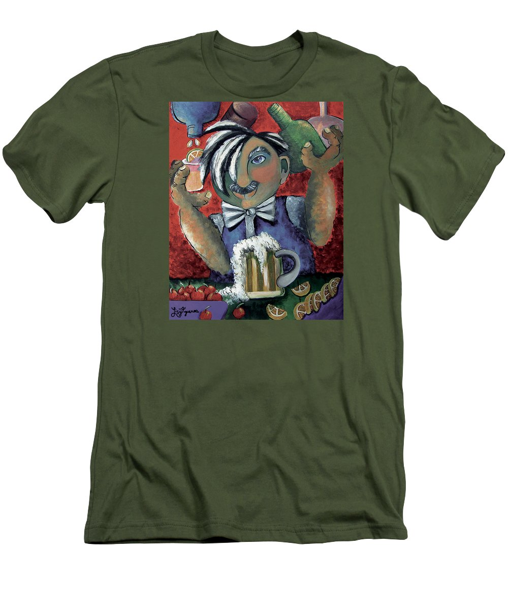 Bartender Men's T-Shirt (Athletic Fit) featuring the painting The Bartender by Elizabeth Lisy Figueroa