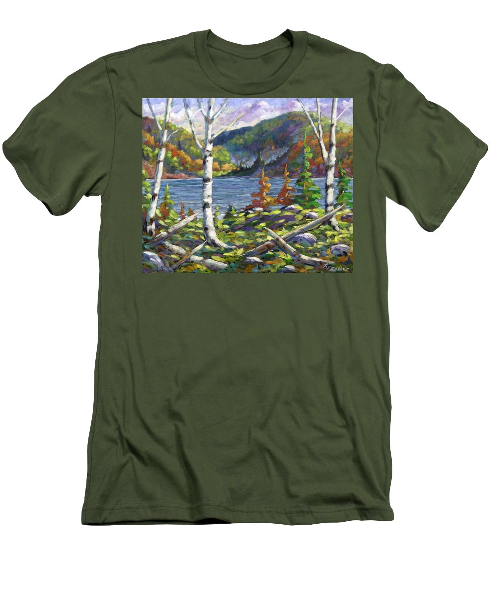 Art Men's T-Shirt (Athletic Fit) featuring the painting The Birches by Richard T Pranke