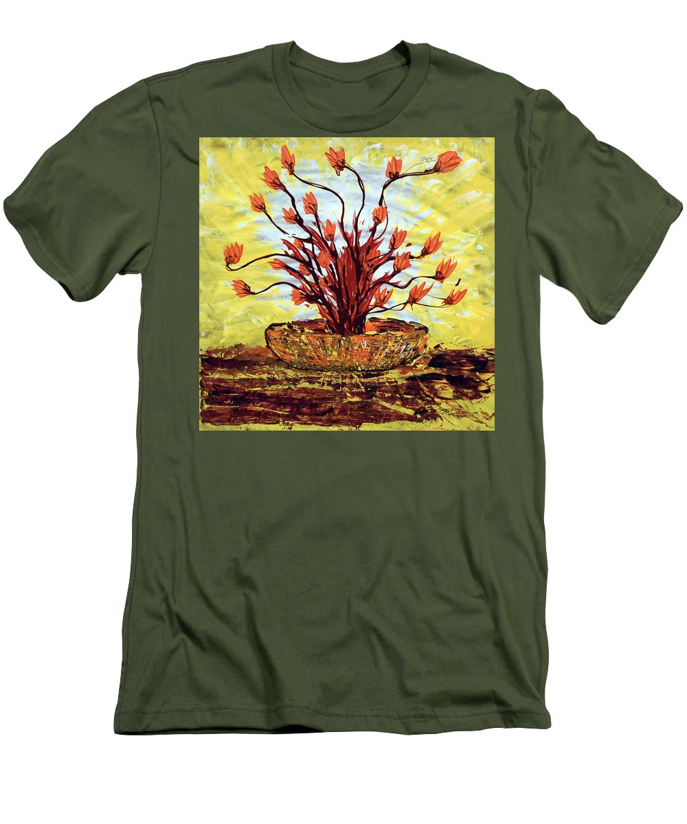 Red Bush Men's T-Shirt (Athletic Fit) featuring the painting The Burning Bush by J R Seymour