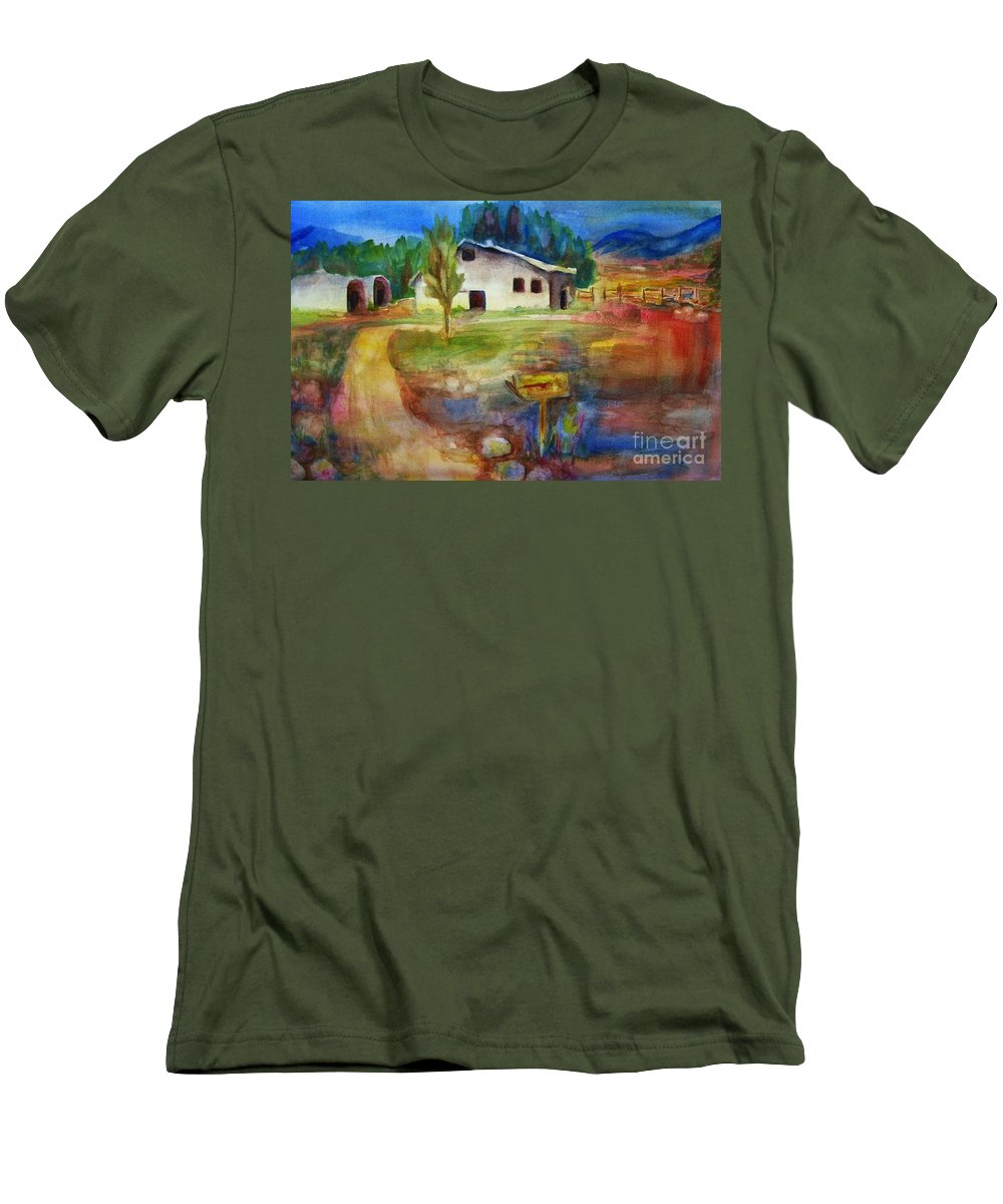 Country Barn Men's T-Shirt (Athletic Fit) featuring the painting The Country Barn by Frances Marino
