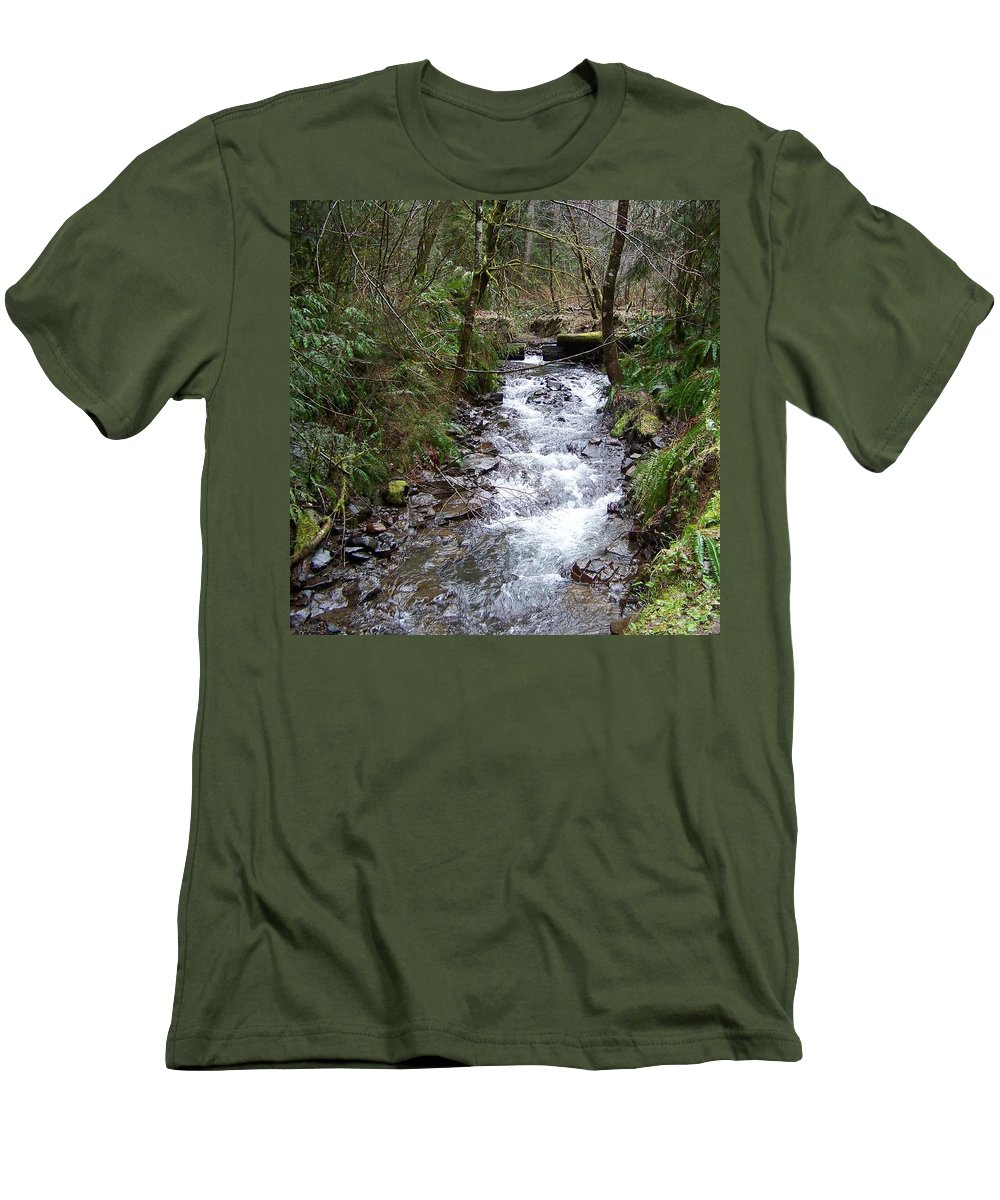 Digital Photography Men's T-Shirt (Athletic Fit) featuring the photograph The Creek by Laurie Kidd
