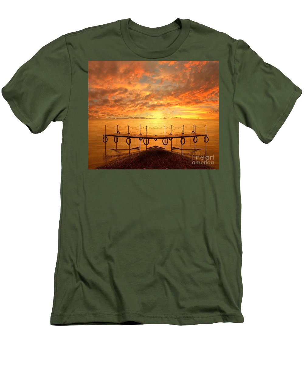 Waterscape Men's T-Shirt (Athletic Fit) featuring the photograph The Dock by Jacky Gerritsen