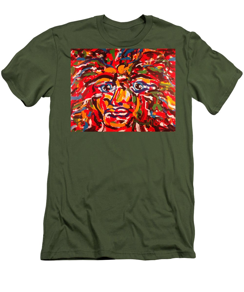 Abstract Men's T-Shirt (Athletic Fit) featuring the painting The Fearless Warrior by Natalie Holland