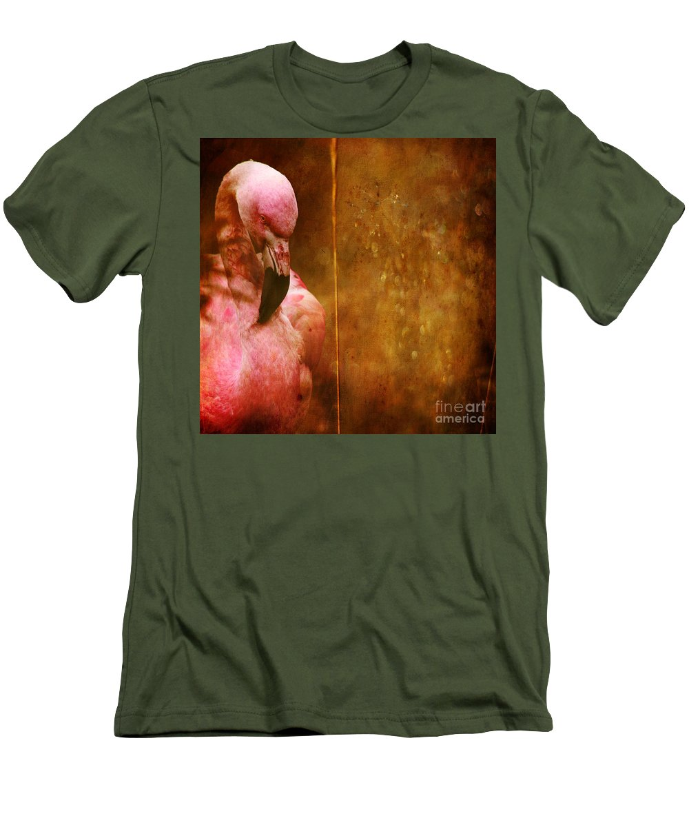 Flamingo Men's T-Shirt (Athletic Fit) featuring the photograph The Flamingo by Angel Ciesniarska