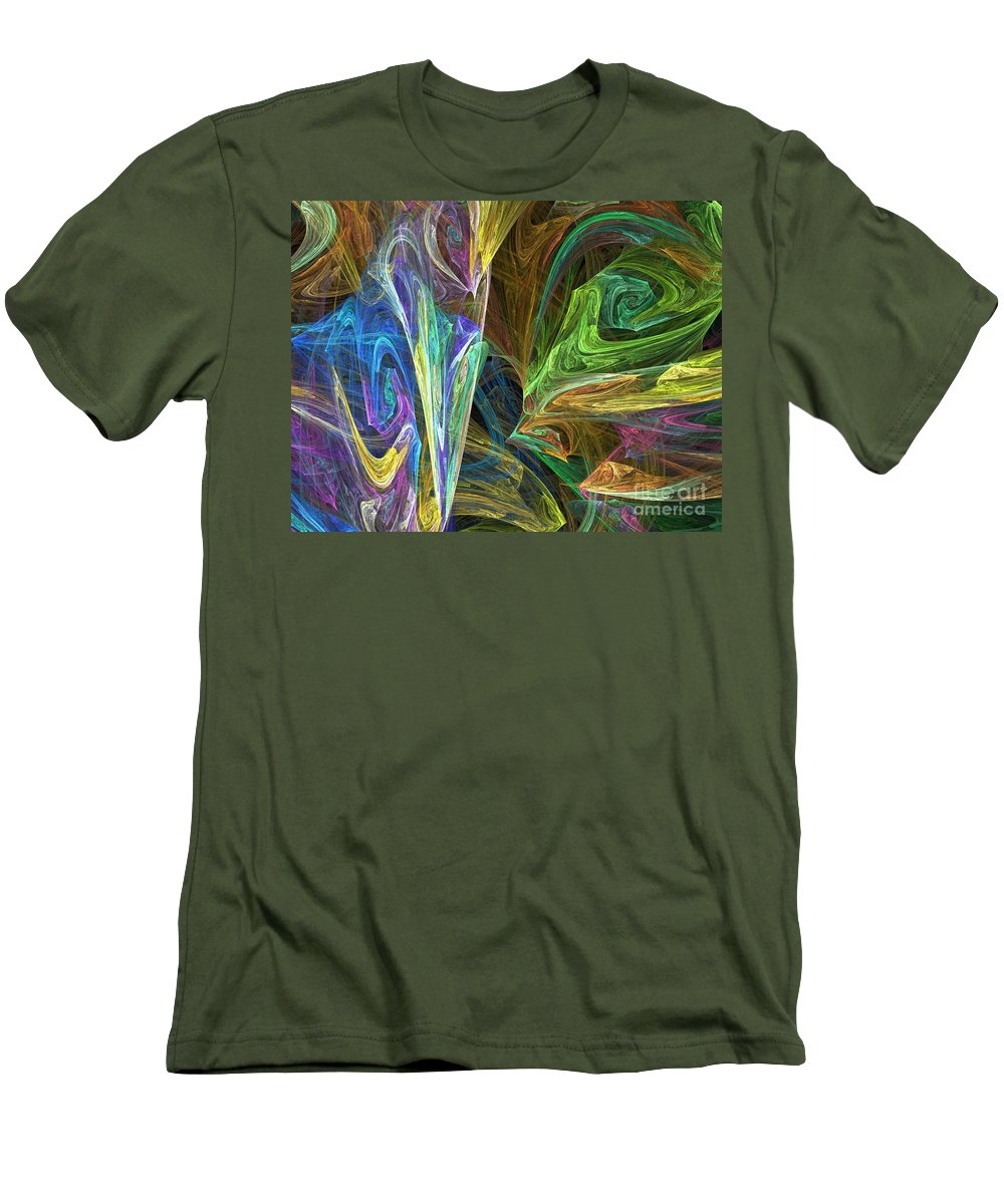 Fractals Men's T-Shirt (Athletic Fit) featuring the digital art The Groove by Richard Rizzo