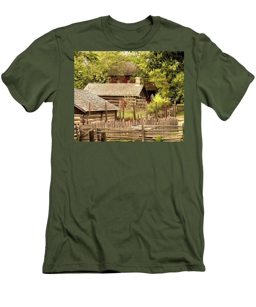 Log Cabins Men's T-Shirt (Athletic Fit) featuring the photograph The Homestead by Ian MacDonald