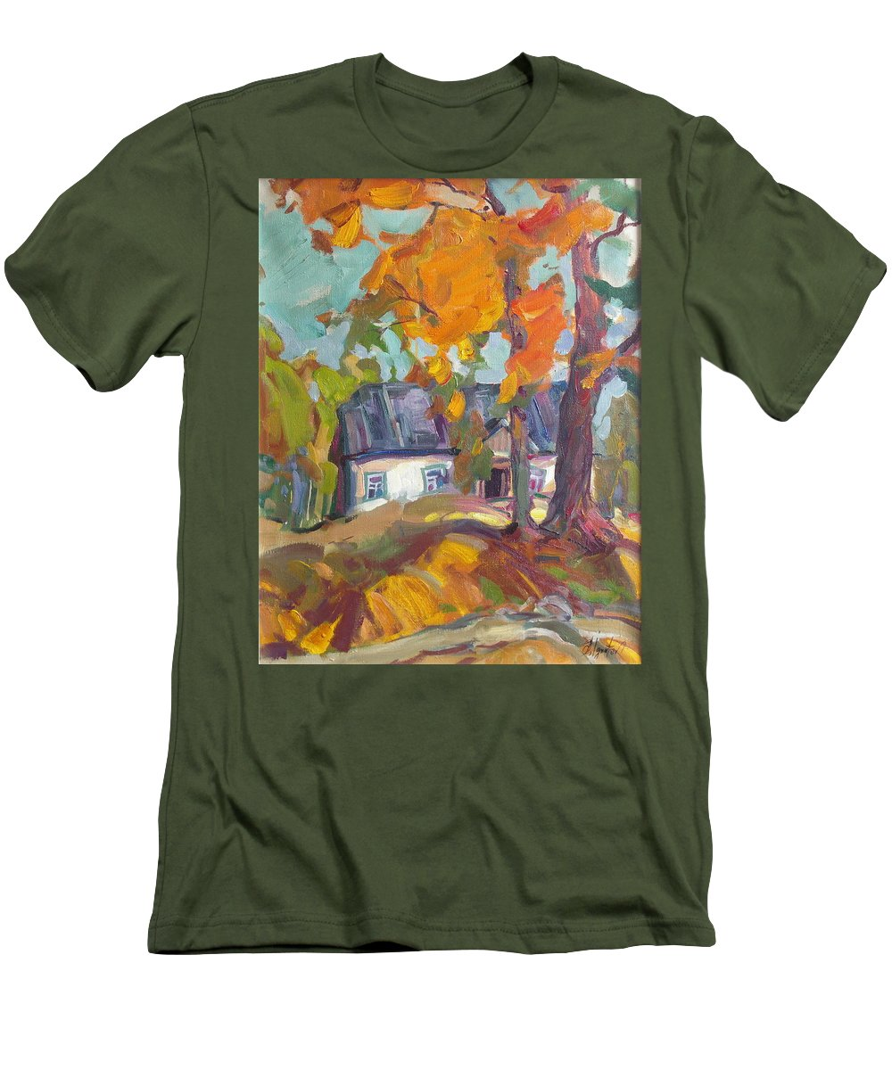 Oil Men's T-Shirt (Athletic Fit) featuring the painting The House In Chervonka Village by Sergey Ignatenko