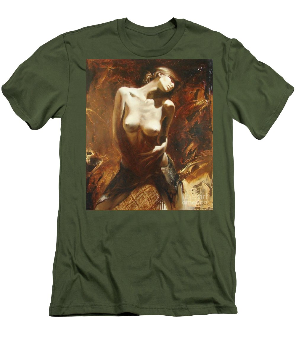 Oil Men's T-Shirt (Athletic Fit) featuring the painting The Incinerating Passion by Sergey Ignatenko