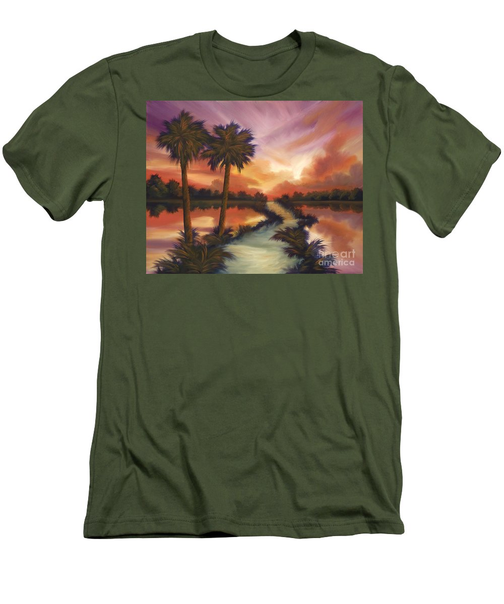 Skyscape Men's T-Shirt (Athletic Fit) featuring the painting The Lane Ahead by James Christopher Hill
