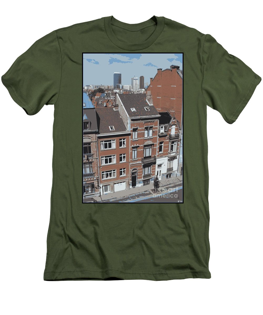 Brussels Men's T-Shirt (Athletic Fit) featuring the photograph The Many Layers Of Brussels by Carol Groenen