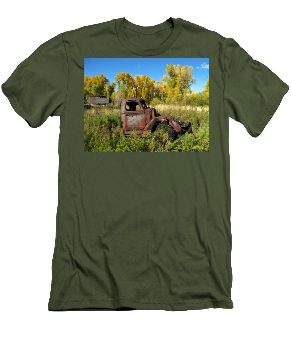 Truck Men's T-Shirt (Athletic Fit) featuring the photograph The Old Truck Chama New Mexico by Kurt Van Wagner
