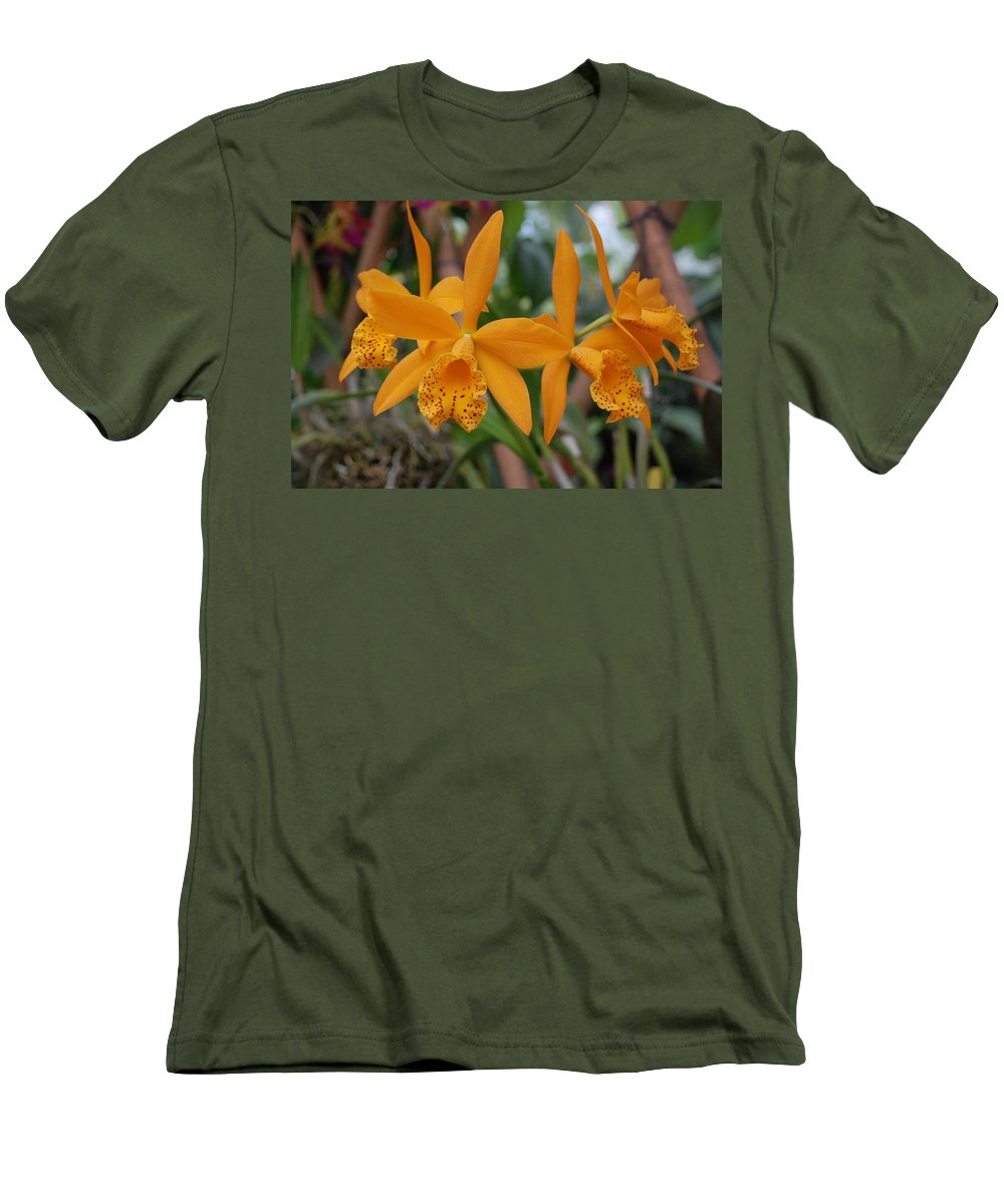 Macro Men's T-Shirt (Athletic Fit) featuring the photograph The Orange Orchids by Rob Hans