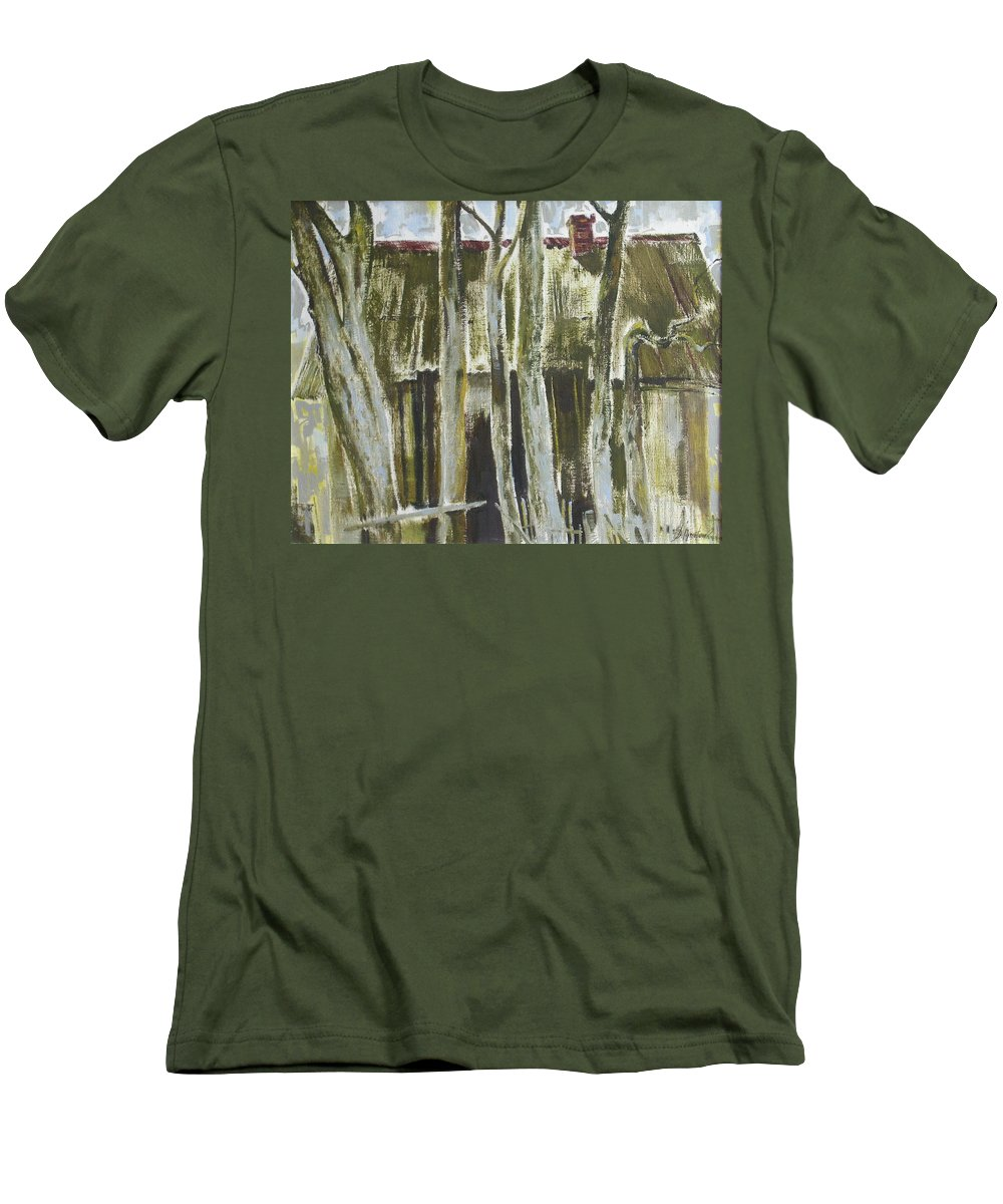 Oil Men's T-Shirt (Athletic Fit) featuring the painting The Past Space by Sergey Ignatenko