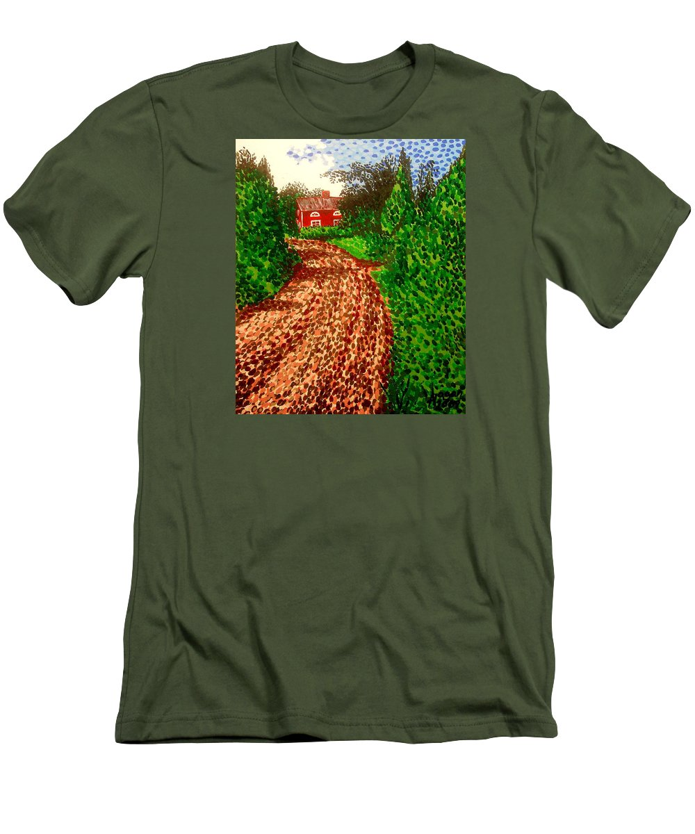 Acrylic Men's T-Shirt (Athletic Fit) featuring the painting The Red House In Finland by Alan Hogan
