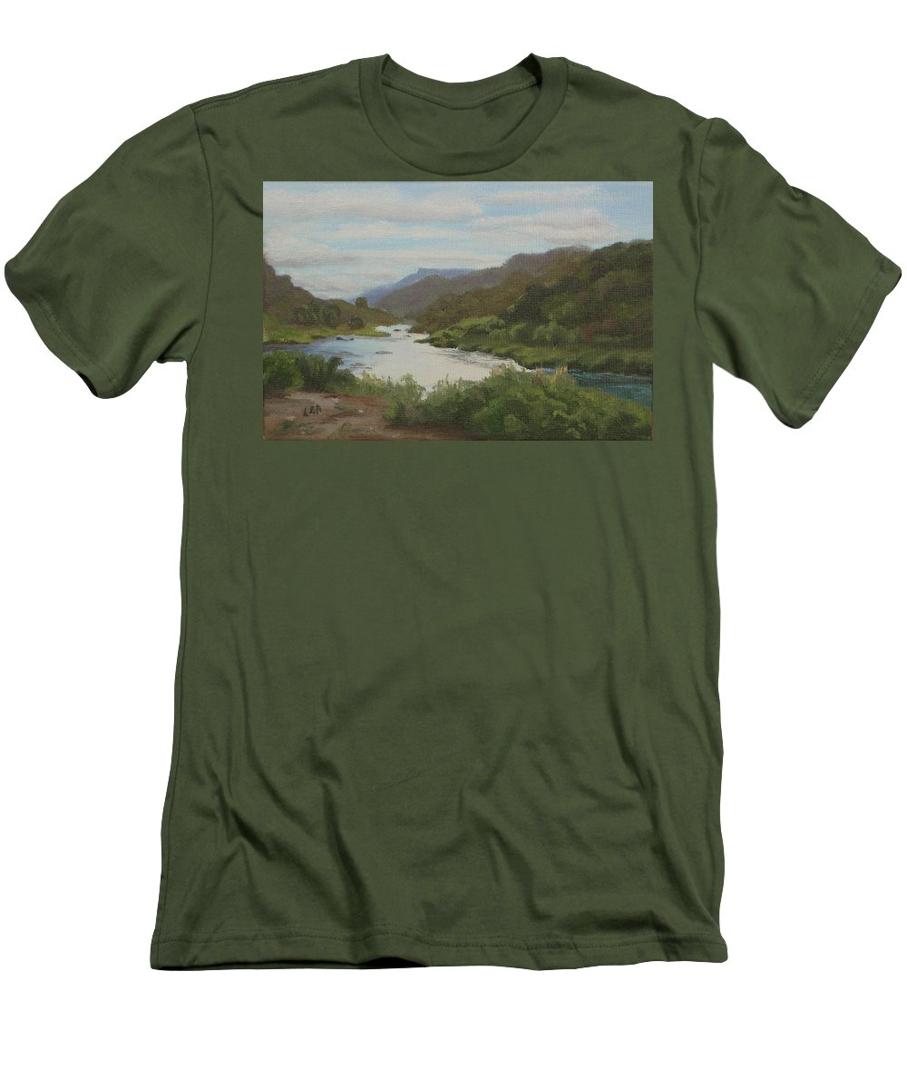 Landscape Men's T-Shirt (Athletic Fit) featuring the painting The Rio Grande Between Taos And Santa Fe by Lea Novak