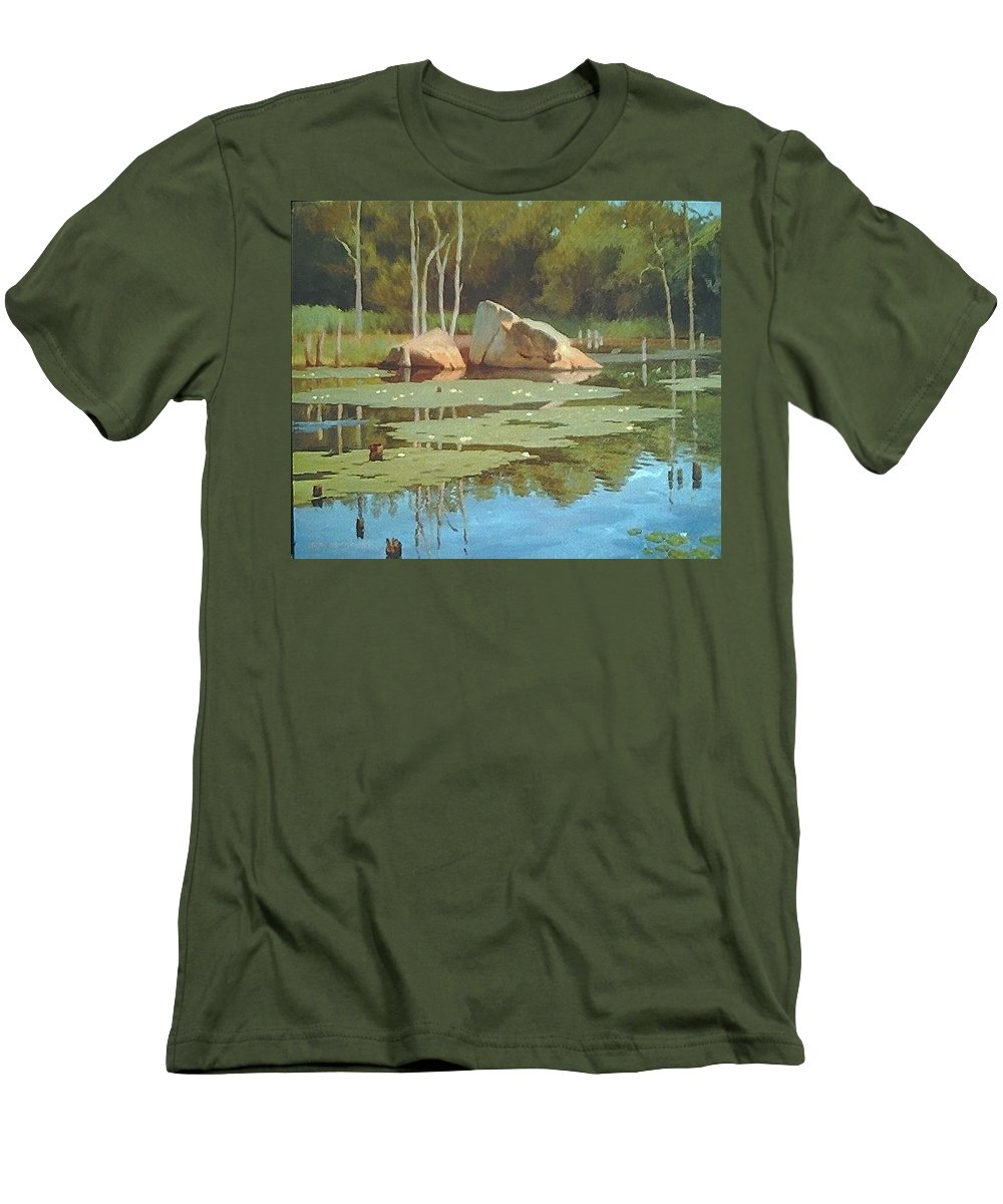 Landscape Men's T-Shirt (Athletic Fit) featuring the painting The Rock by Dianne Panarelli Miller
