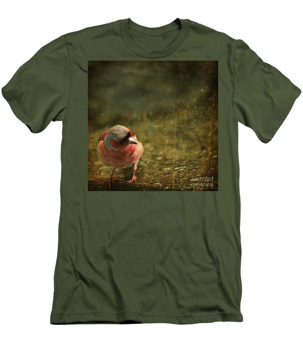 Chaffinch Men's T-Shirt (Athletic Fit) featuring the photograph The Sad Chaffinch by Angel Tarantella