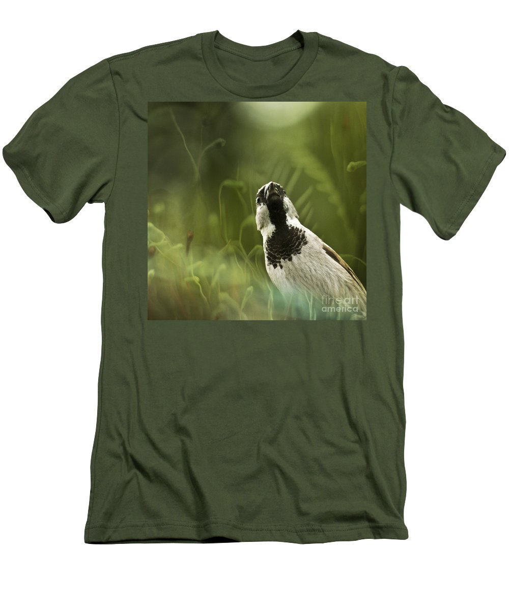 Sparrow Men's T-Shirt (Athletic Fit) featuring the photograph The Sparrow by Angel Ciesniarska
