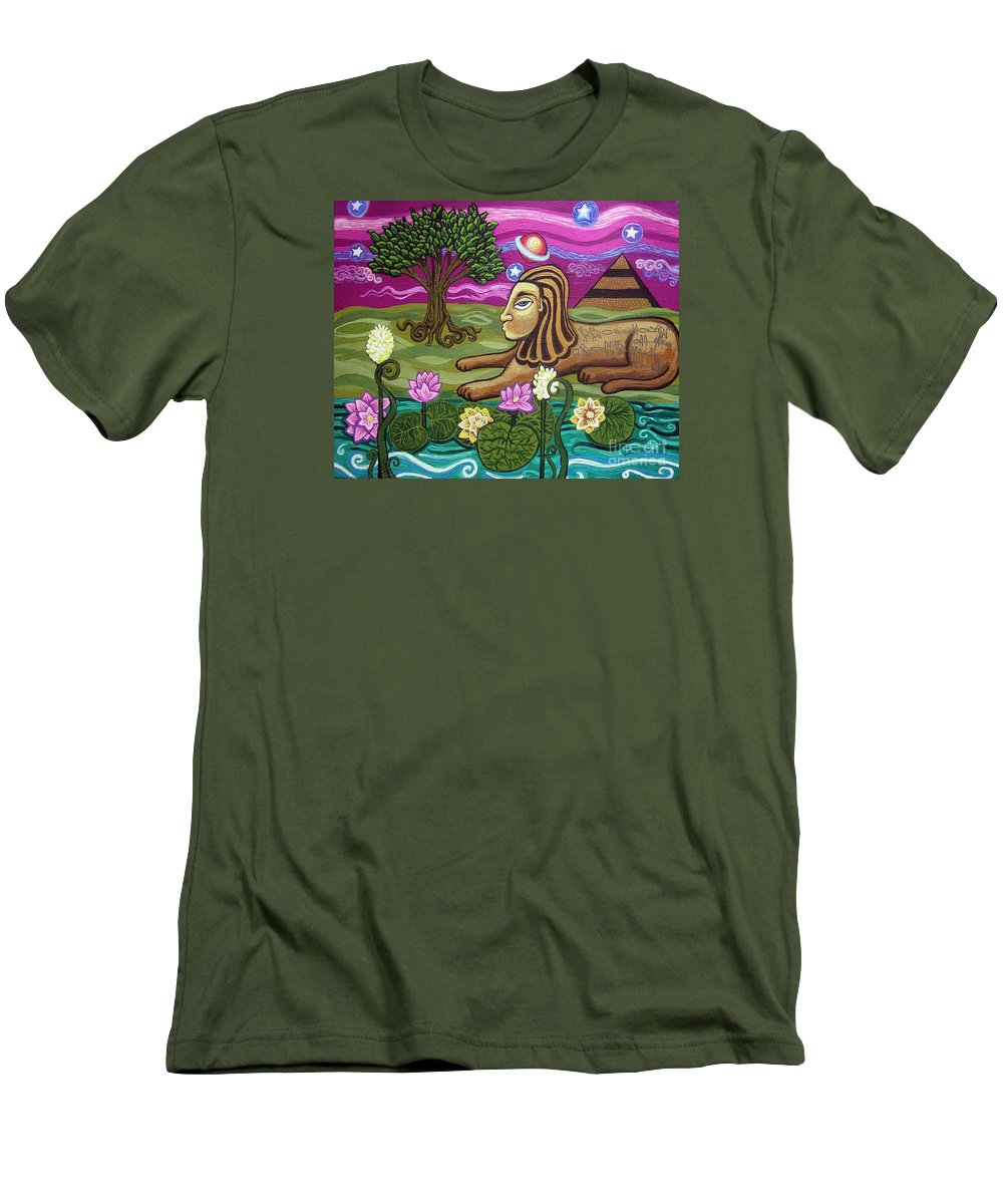 Egypt Men's T-Shirt (Athletic Fit) featuring the painting The Sphinx by Genevieve Esson