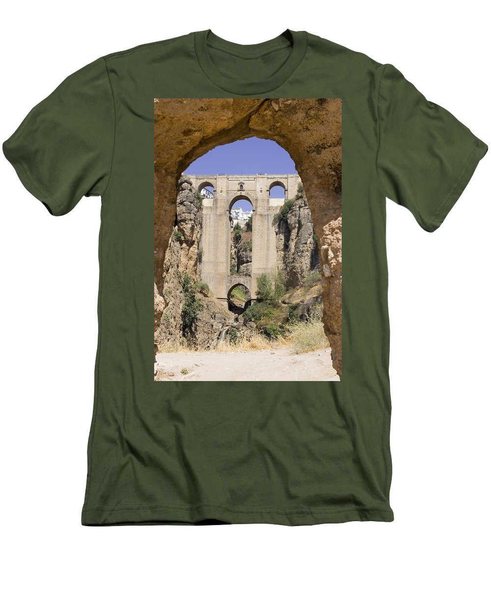 Ronda Men's T-Shirt (Athletic Fit) featuring the photograph The Tajo De Ronda And Puente Nuevo Bridge Andalucia Spain Europe by Mal Bray