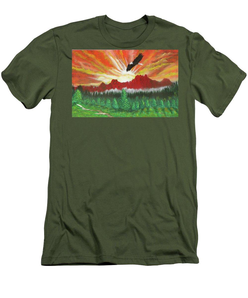 Acrylic Men's T-Shirt (Athletic Fit) featuring the painting They That Wait Upon The Lord  Isa 40 31 by Laurie Kidd