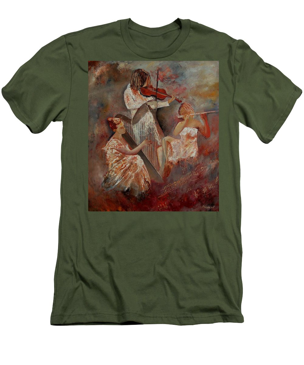Music Men's T-Shirt (Athletic Fit) featuring the painting Three Musicians by Pol Ledent